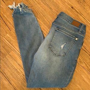 Judy Blue cropped destroyed raw hem stretch jean